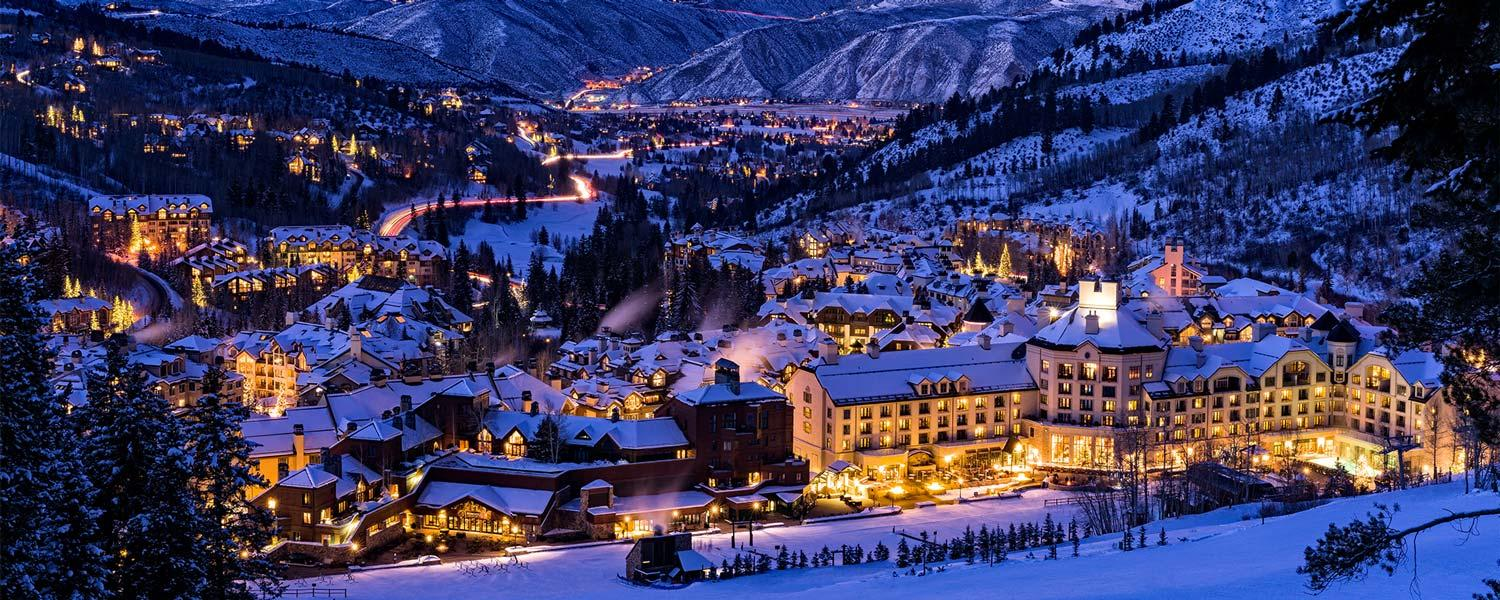 Beaver Creek in Vail Valley nighttime view
