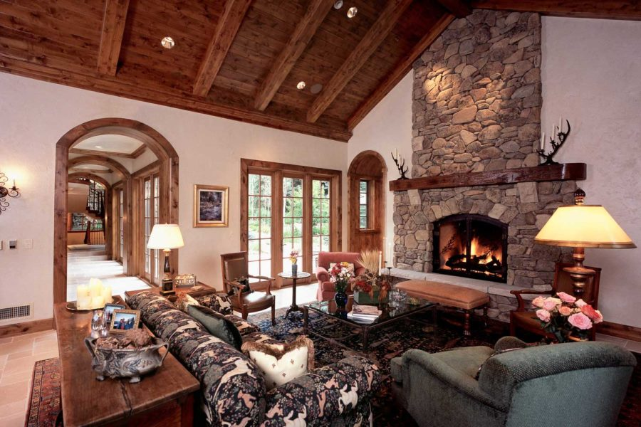 Living room and fireplace at 387/381 Beaver Dam, Vail, Colorado