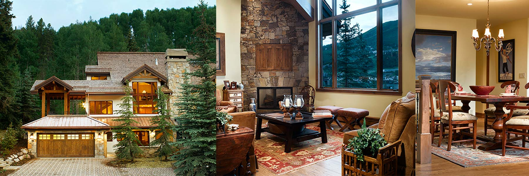 Three images of 600 Forest Road, Vail, Colorado