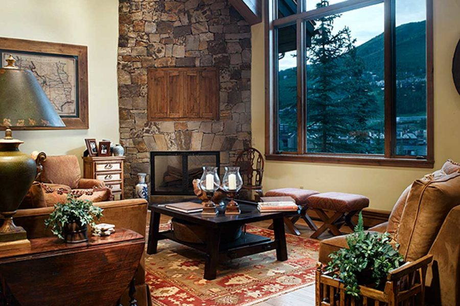 Living room at 600 Forest Road, Vail, Colorado