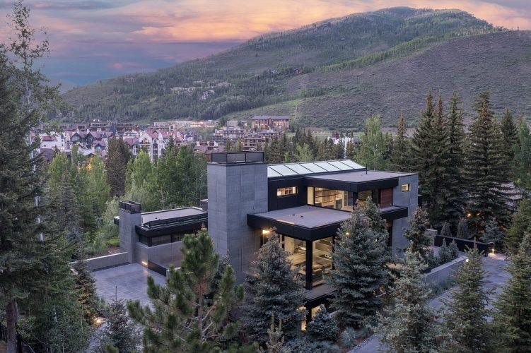 Exterior of 463 Beaver Dam Road in Vail at dusk