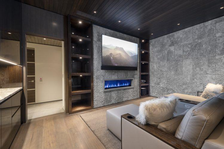 Movie room with fireplace at 463 Beaver Dam Road in Vail