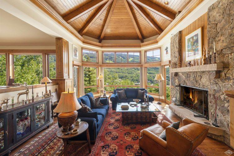 living room and fireplace at 1058 Riva Glen above Vail Village