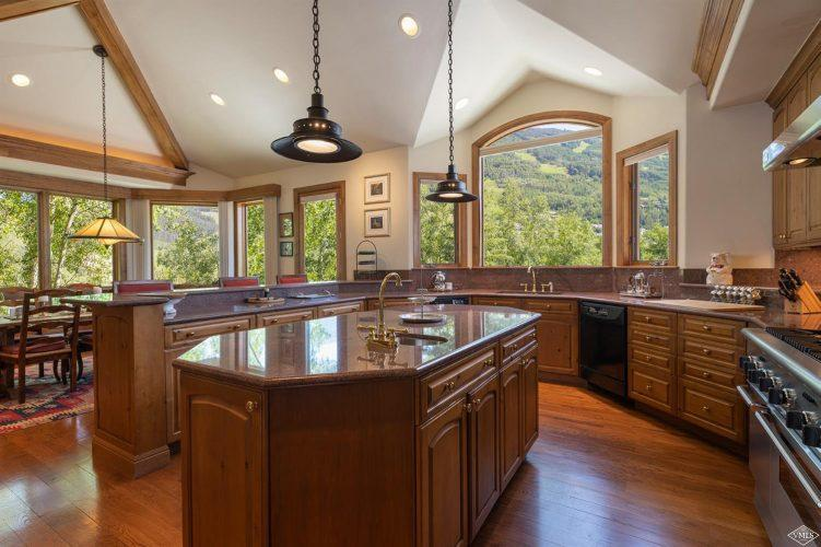 kitchen and island at 1058 Riva Glen above Vail Village