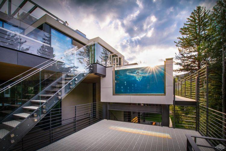 165 Forest Road on Vail Mountain: exterior with glass pool