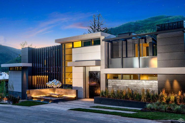 165 Forest Road on Vail Mountain: exterior at sunset