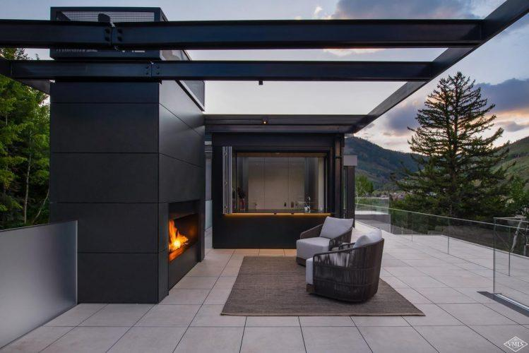165 Forest Road on Vail Mountain: exterior fireplace