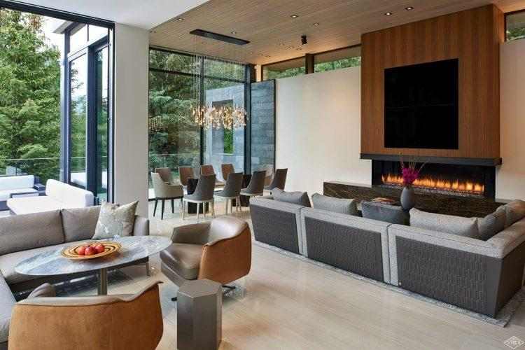 165 Forest Road on Vail Mountain: living area with fireplace