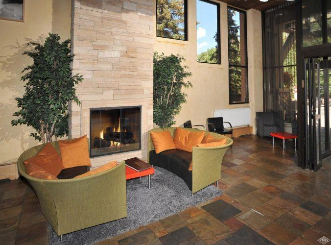 sitting area with fireplace at 292 Meadow Drive in the heart of Vail Village