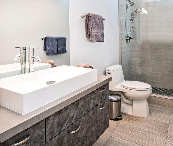 bathroom and shower at 133 Willow Bridge Road in the heart of Vail Village