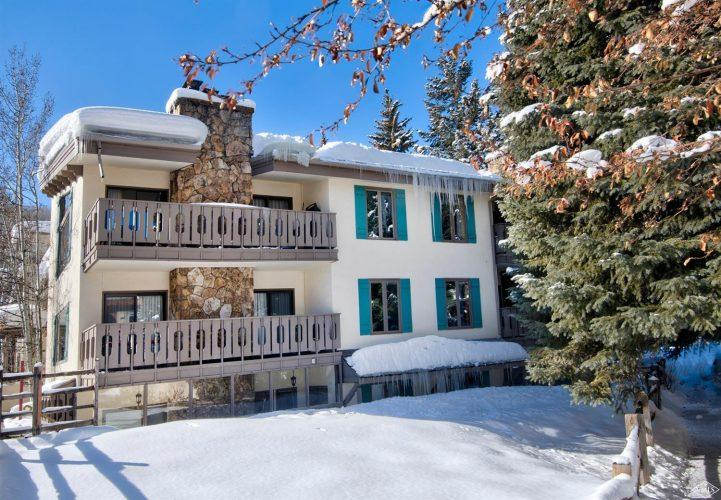 exterior snowy view at 133 Willow Bridge Road in the heart of Vail Village