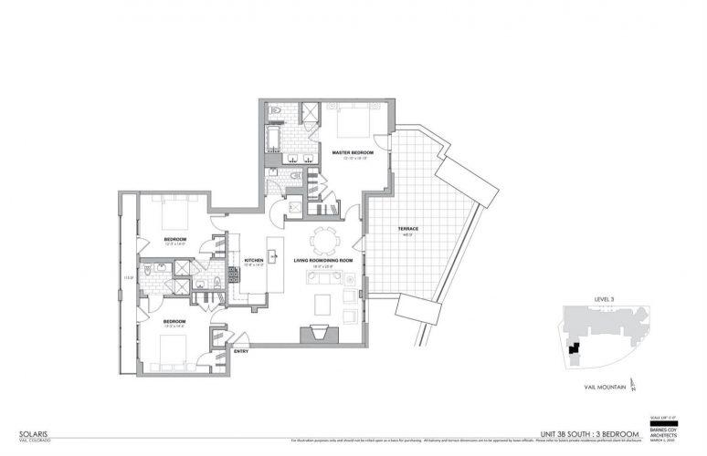floorplan of 141 Meadow Drive in the south tower of Solaris